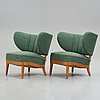 Otto schulz, a pair of upholstered easy chairs, boet, 1940's.