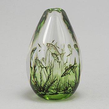 """EDWARD HALD, vas, glas, """"fiskgraal"""", Orrefors 1957. Signerad."""