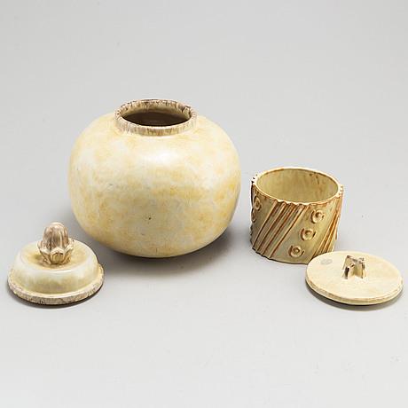 Two 20th century stoneware jars with cover, upsala ekeby.