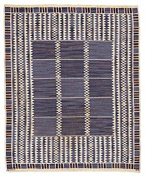 "199. Barbro Nilsson, A CARPET, ""Salerno blå"", flat weave, ca 288,5 x 236,5 cm, signed AB MMF BN."