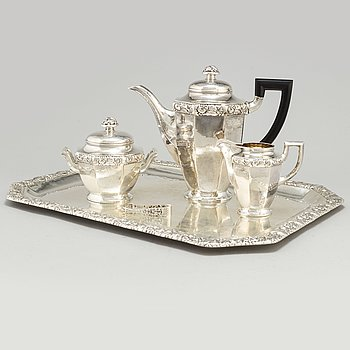 A four piece silver coffee service by Axel Larsson, Helsingborg 1917.