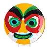 "Karel appel, a ""kop met gele neus"" glazed ceramic dish, 4/6, 1977."