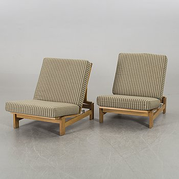 HANS J WEGNER, a pair of lounge chairs model no GE-420 for Getama, Denmark.