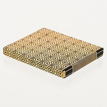 A GOLD CASE, 18K gold, enamel. Marchak, France 1930s.