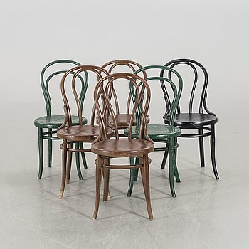 A SET OF 6 THONET CHAIRS.