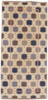 "198. Märta Måås-Fjetterström, A CARPET, ""Blåplump"", flat weave, ca 399 x 184,5-186 cm, signed AB MMF."