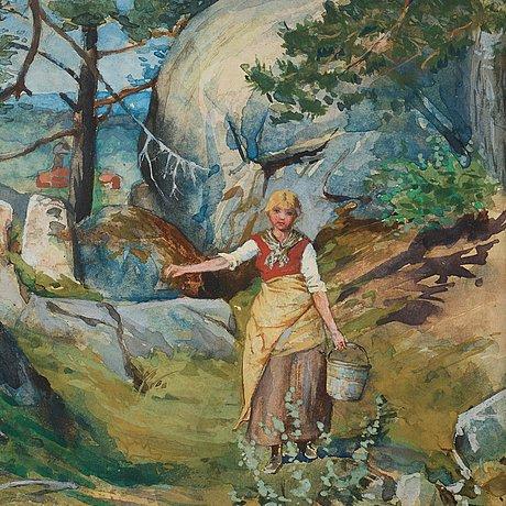 Jenny nyström, flicka i tallskog.