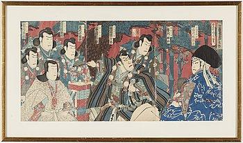 TOYOHARA KUNICHIKA (1835–1900) samt OIDENTIFIERAD KONSTNÄR, färgträsnitt, triptyker, två stycken. Japan, 1800-tal.