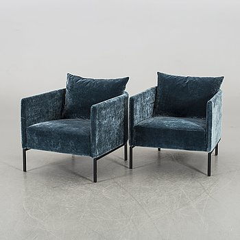 """A PAIR OF EASY CHAIRS """"PIET"""" FROM SLETTVOL 2010'S."""
