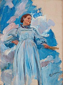 """341. Carl Larsson, """"Kvinnofigur och himmel"""" (Woman and sky)."""