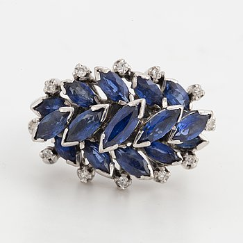 Navette shaped sapphires and eight-cut diamonds.