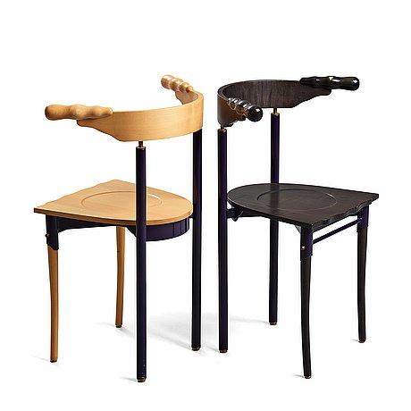 """Borek sipek, borek sipek, two """"jansky"""" chairs for driade, italy post 1986."""