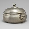 A pewter tureen with lid by samuel marnel, stockholm probably 1757 or 1774