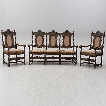 A baroque style sofa and two chairs, early 20th century.