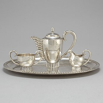 A four piece 20th century Art Deco silver coffee service.