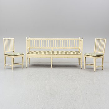 A sofa and two chairs, late gustavian, first half of the 19th century.