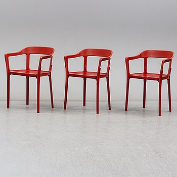 """Ronan & Erwan Bouroullec, stolar, 3 st, """"Steelwood"""", Magis, Italien."""
