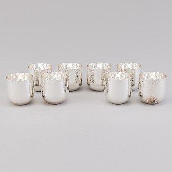 TAPIO WIRKKALA, Eight silver beakers for Kultakeskus, Hämeenlinna 1996 and 2008.