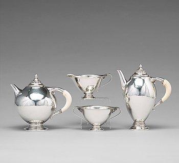 129. Johan Rohde, a 830/1000 silver tea and coffee set, comprising four pieces, Georg Jensen, Copenhagen 1919, design nr 279,