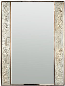 232. Ulla Fogelklou-Skogh, a Swedish Modern brass framed wall mirror, 1930-40's.