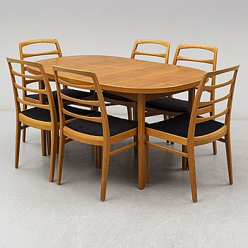 BERTIL FRIDHAGEN, a dining table and six chairs, model 'Reno', for Bodafors, dated 1961.