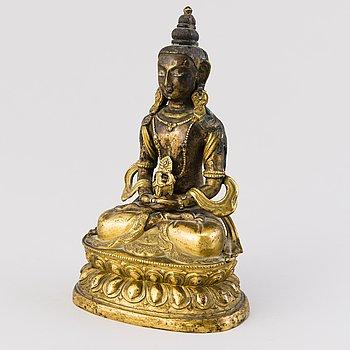 AMITABHA BUDDHA, brännförgylld kopparmetallegering, Tibet, 1800-talets första hälft.