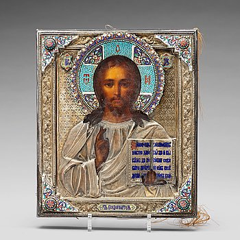 233. A Russian silver and cloisoné enamel icon of Christ Pantocrator, mark Sergei Zharov possibly, Moscow late 19th century.