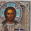 A russian silver and cloisoné enamel icon of christ pantocrator, mark sergei zharov possibly, moscow late 19th century.