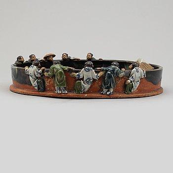 A Japanese pottery bowl, Sumida ware, meiji (1868-1912).