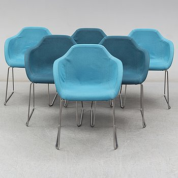 Six chairs (3+3) 'Arena' by Johan Lindstén, Johanson Design, Sweden.