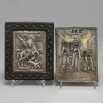 Ikoner, 2 st, med silverinfattning, en Ryssland 1800-tal,