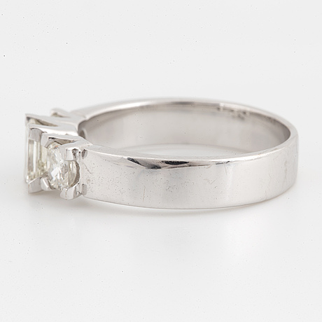 Emerald cut and radiant cut diamond ring