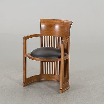 "FRANK LLOYD WRIGHT, ARMCHAIR, 606 ""Barrel Chair"", Cassina, 1986."