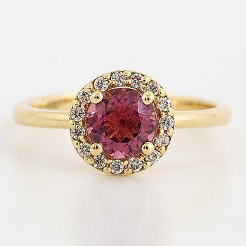 Pink tourmaline and brilliant-cut diamond ring.