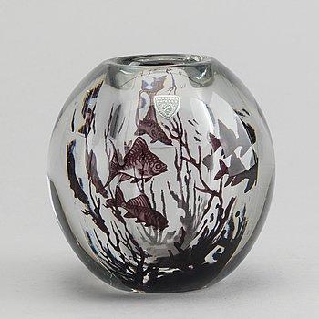 EDWARD HALD, a signed Orrefors graal glass vase.
