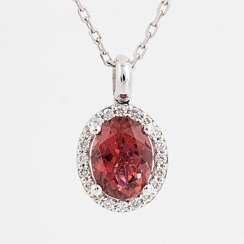 Pink tourmaline and brilliant-cut diamond necklace.
