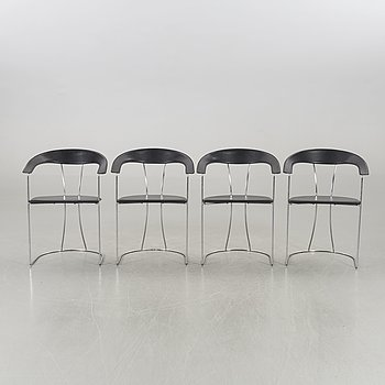 A SET OF FOUR CHAIRS 1970'S.