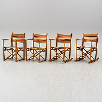 Four collapsible birch chairs, mid 20th Century.