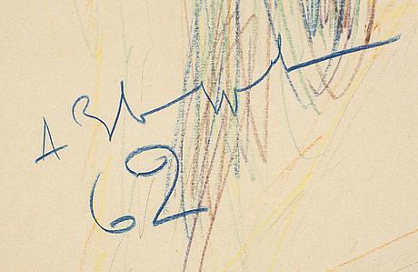 Anatole zverev, pastellkrita på papper, signerad och daterad 62.