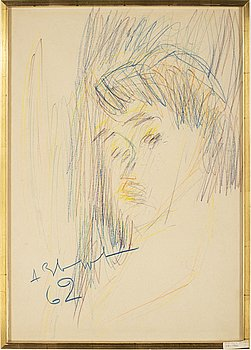 ANATOLE ZVEREV, pastel crayon on paper, signed and dated 62.