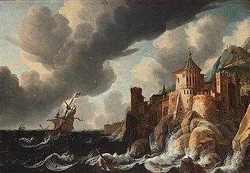 David Ludeking, Båtar vid borg på klippa.