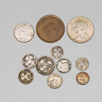 688. A set of silver and copper coins, late Qing dynasty, China, Hong kong, Japan, late 19th/early 20th century (147 pieces).