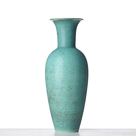 Gunnar nylund, a mid 20th century bird's egg glazed stoneware floor vase, rörstrand, sweden.