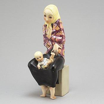 """HELEN KÖNIG SCAVINI, figurin, """"Maternità"""", n. 410, Lenci, Italien 1930-tal."""