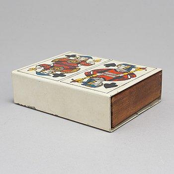 PIERO FORNASETTI, ask för spelkort, Italien 1950-tal.