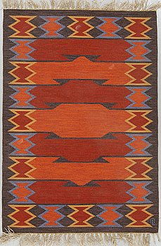 MATTO, flat weave, ca 199 x 137 cm, a signature, Sweden around the 1950's-60's.
