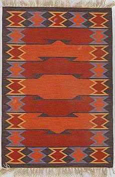 A CARPET, flat weave, ca 199 x 137 cm, a signature, Sweden around the 1950's-60's.