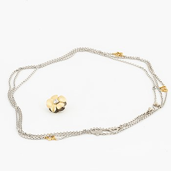 OLE LYNGGAARD, CHARLOTTE LYNGGAARD chain white gold, flower clasp, red/white gold guld med diamanter.