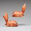 A pair of porcelain figurines of gold fishes, qing dynasty, qianlong (1736-95).