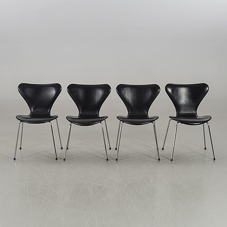 Arne jacobsen, a set of four sjuan chairs